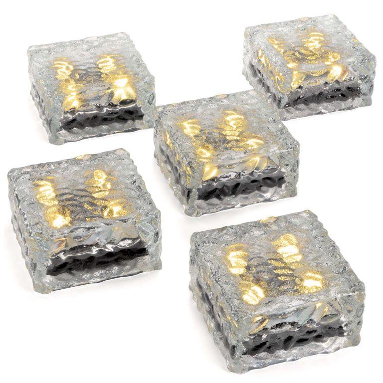 Sada 5 sklenených solárnych tehličiek - 4 LED, teplá biela