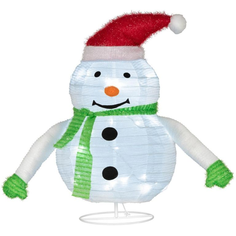 Vianočná dekorácia - snehuliak, 30 LED, 58 cm