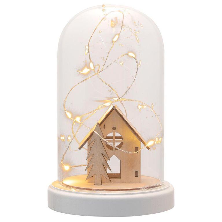 Vianočná dekorácia kupola - domček, 10 LED, teplá biela