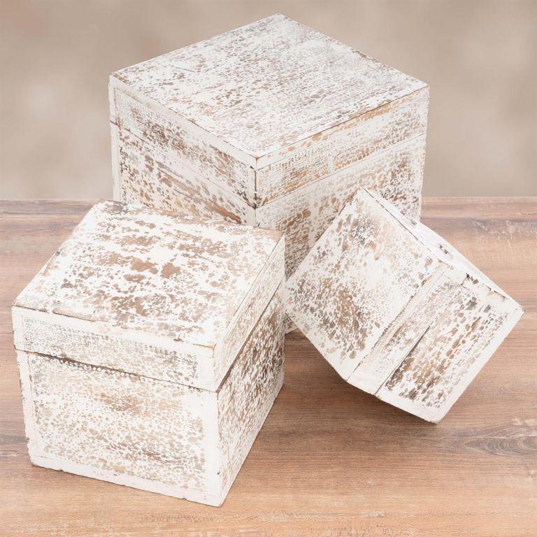 Sada 3ks drevených vintage boxov, biela
