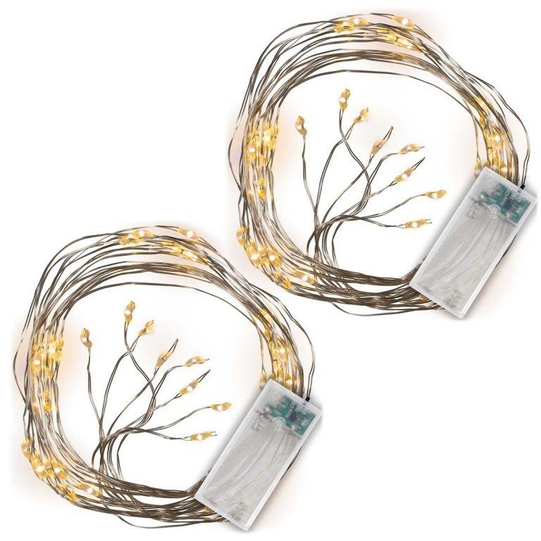 Vianočný svetelný drôt MINI LED, 2 ks, teple biela, 48 LED