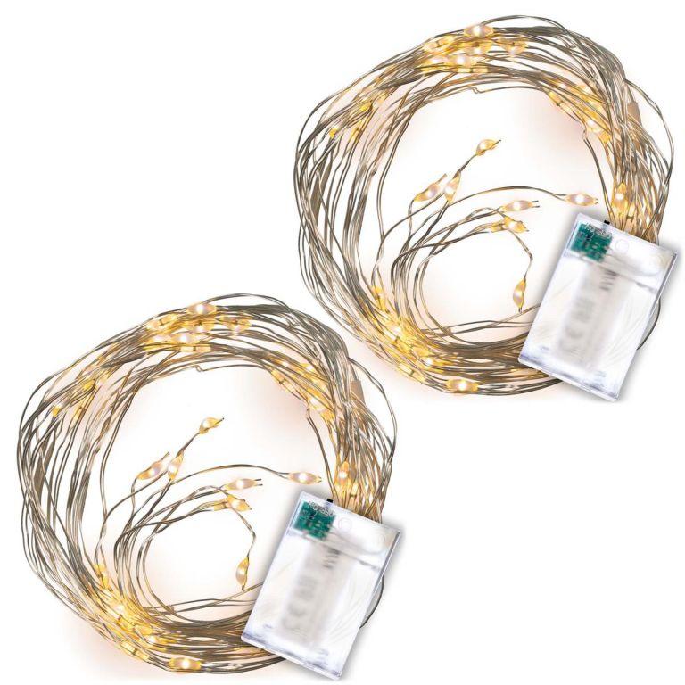 LED osvetlenie strieborný drôt, 2 ks, teple biela, 64 LED