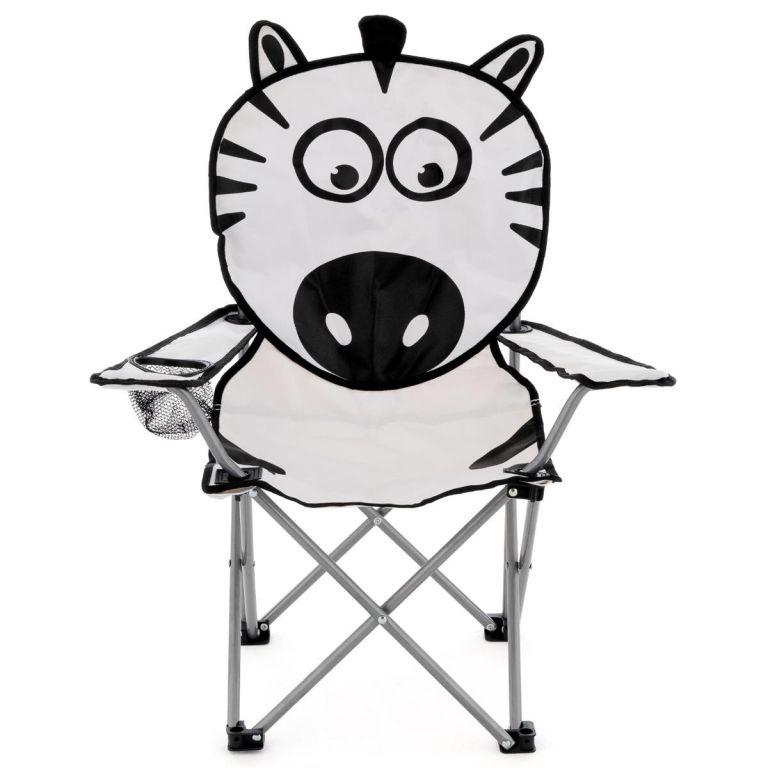 Detská skladacia kempingová stolička - motív zebra