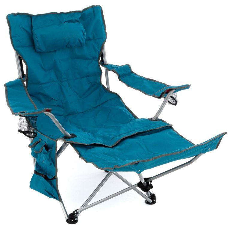 Kempingová stolička s odnímateľnou podnožkou, modrá