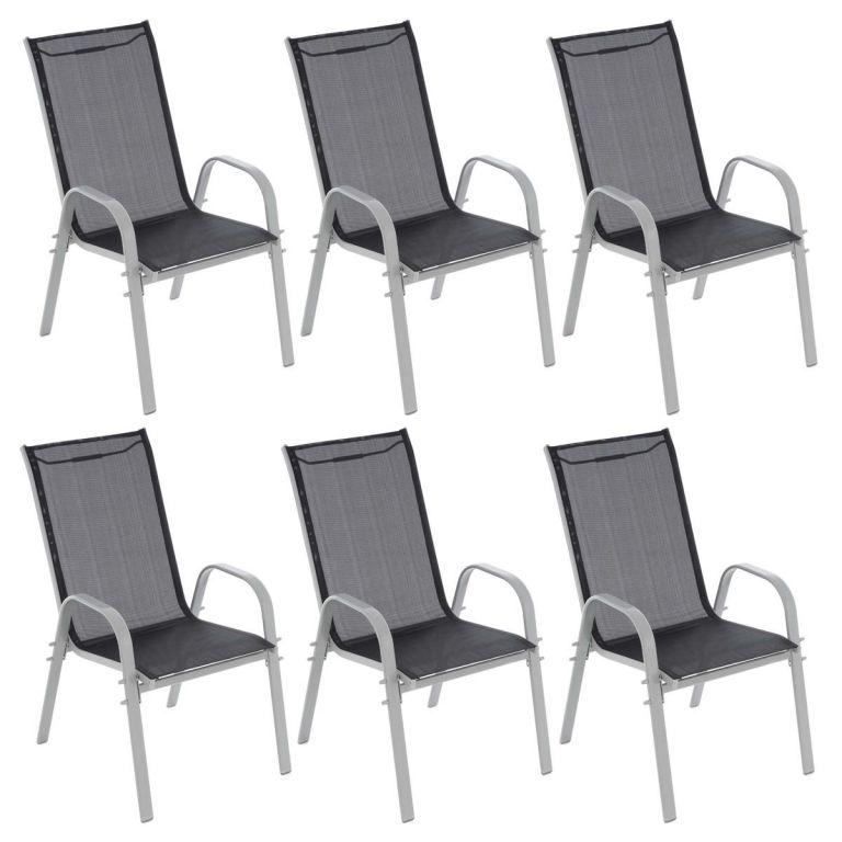 GARTHEN záhradné stohovateľné stoličky, čierna / sv.šedá, 6