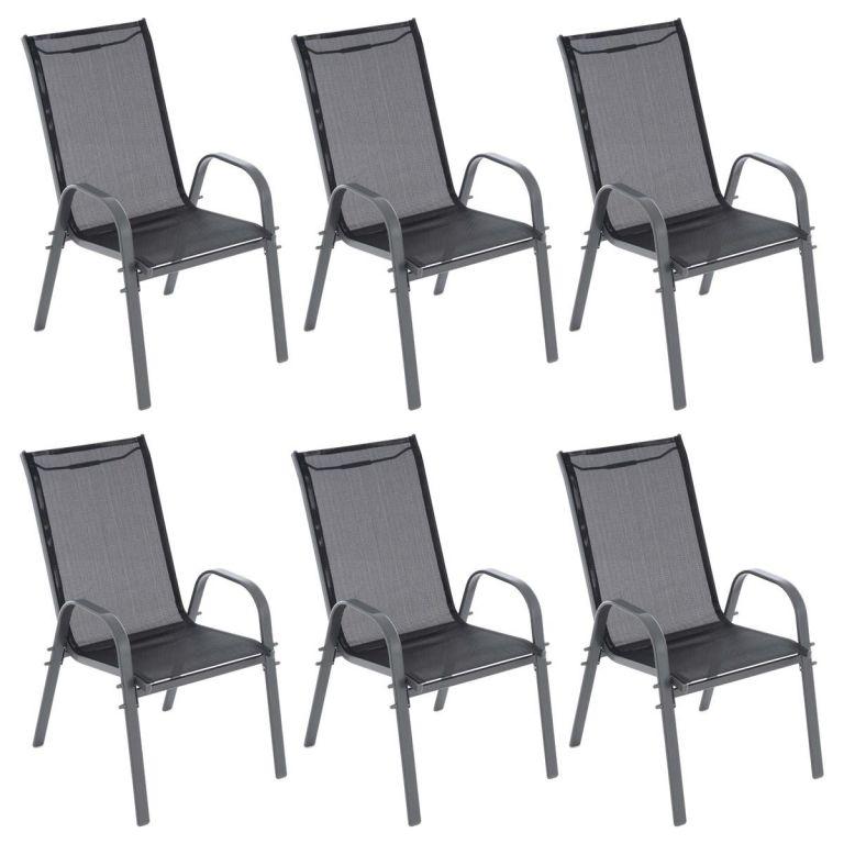 GARTHEN záhradné stohovateľné stoličky, čierna / tm.šedá, 6