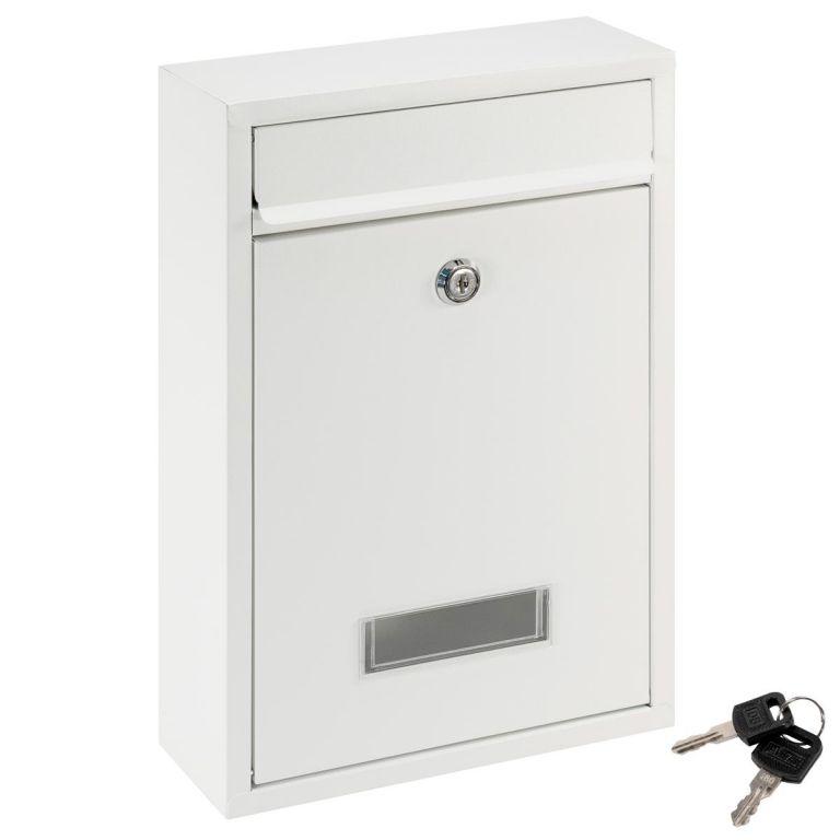 Poštová nástenná schránka ELI, oceľová, biela, 2 kľúče
