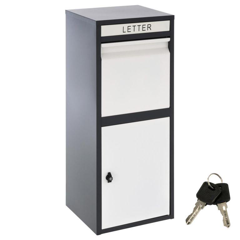 Stojanová poštová schránka KIM, čierno-biela, oceľ, 2 kľúče