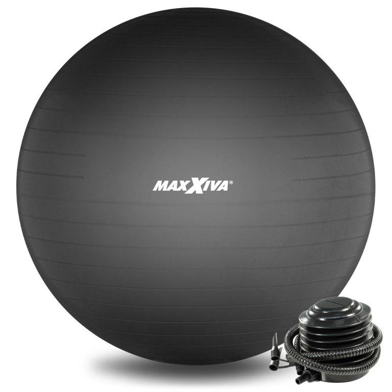 MAXXIVA Gymnastická lopta Ø 75 cm s pumpičkou, čierna