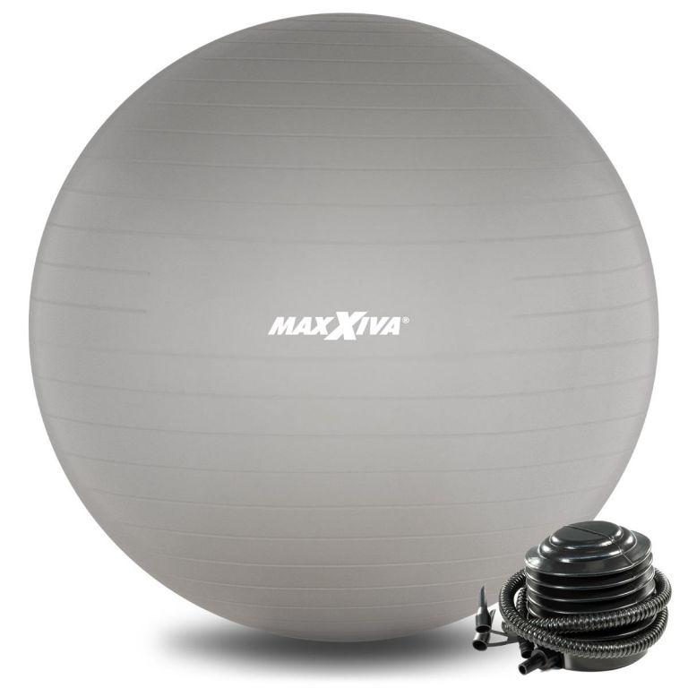 MAXXIVA Gymnastická lopta Ø 75 cm s pumpičkou, strieborná