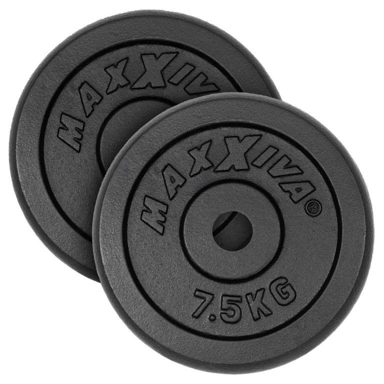MAXXIVA Sada 2 závažia na činky celkom 15 kg, liatina, čiern