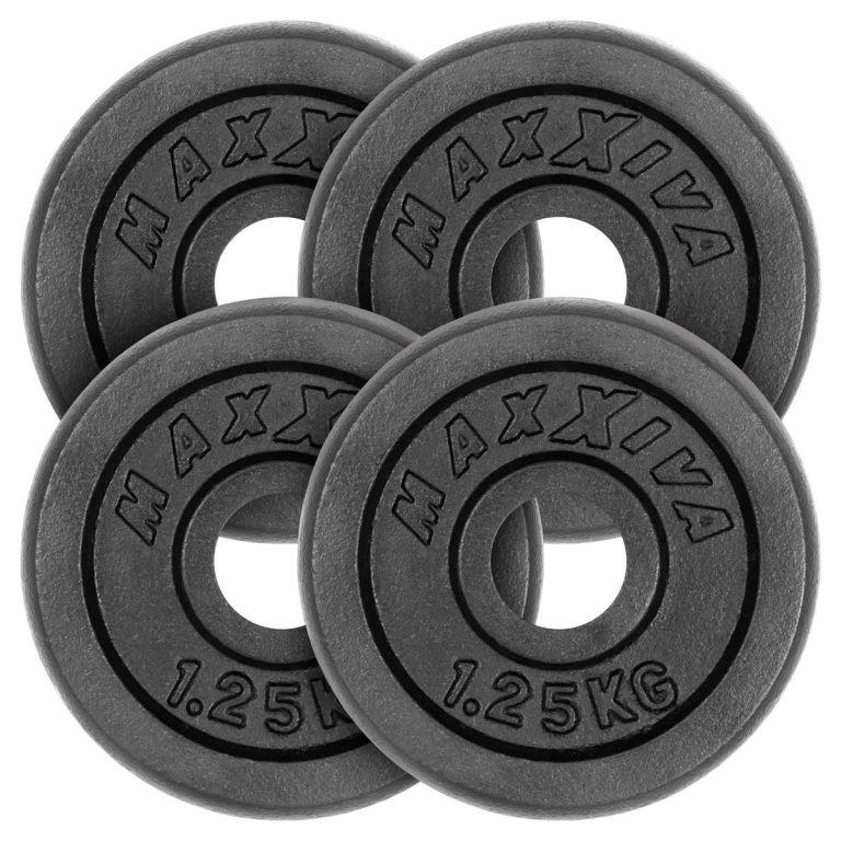 MAXXIVA Sada 4 závaží na činky celkom 5 kg, liatina, čierna