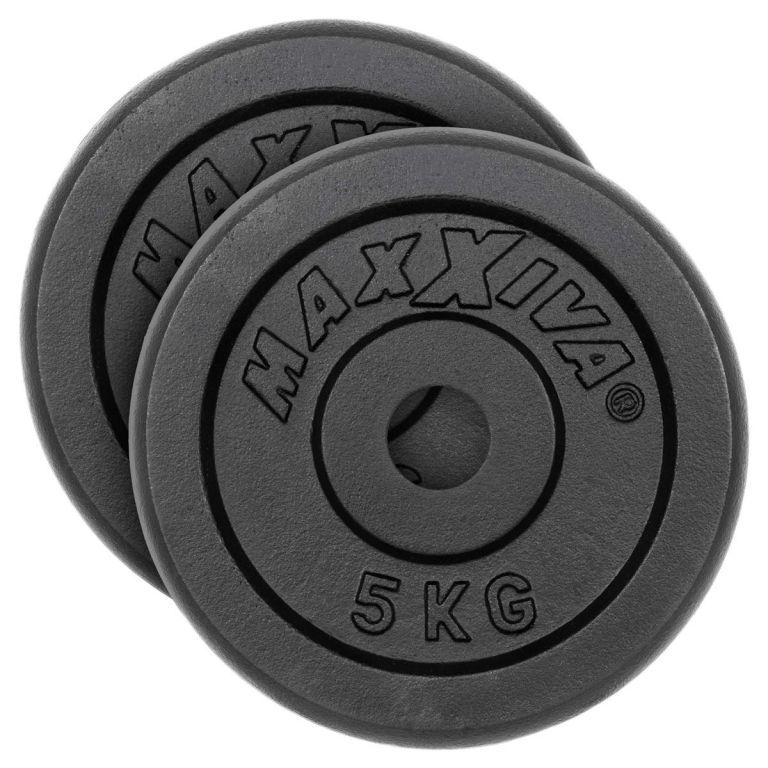 MAXXIVA Sada 2 závaží na činky celkom 10 kg, liatina, čiern