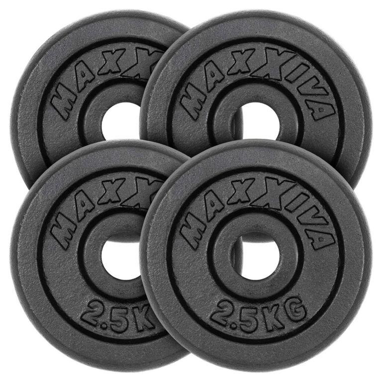MAXXIVA Sada 4 závaží na činky celkom 10 kg, liatina, čierna