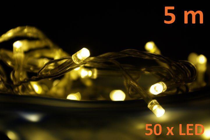 LED osvetlenie 5 m - teple biele, 50 diód