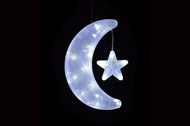 Vianočná dekorácia - mesiac s hviezdou - studená biela