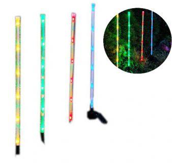 Záhradná sada solárnych farebných LED svietidiel Garth modrá zelená červená žltá farba 4 ks