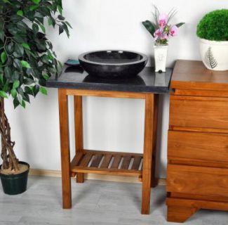 Kúpeľňový stolík pod umývadlo Diver - teakové drevo + mramorová doska