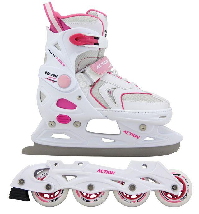 Dievčenské korčule s vymeniteľným podvozkom - veľ. 37 - 40