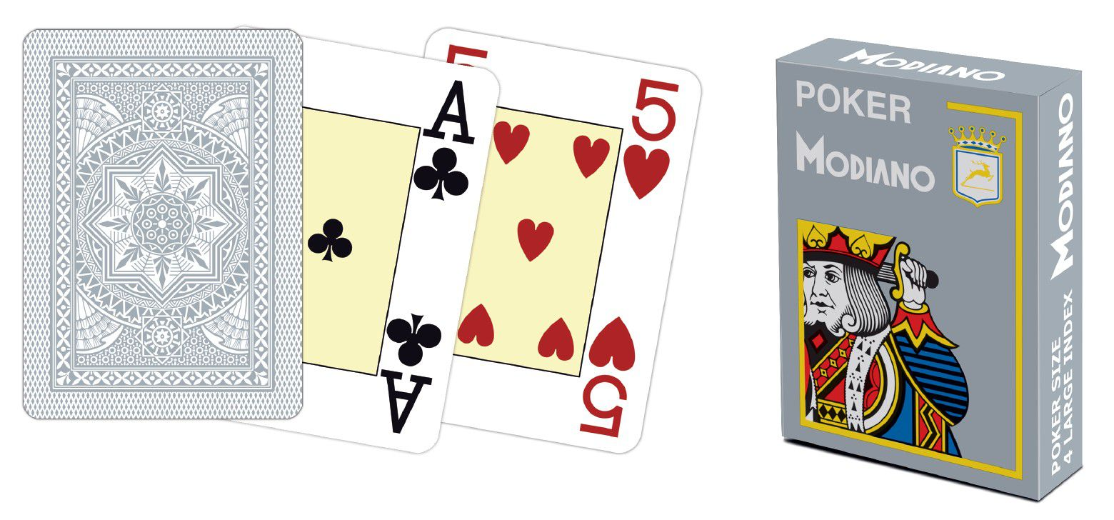 Modiano 4 rohy 100 % plastové karty - sivé