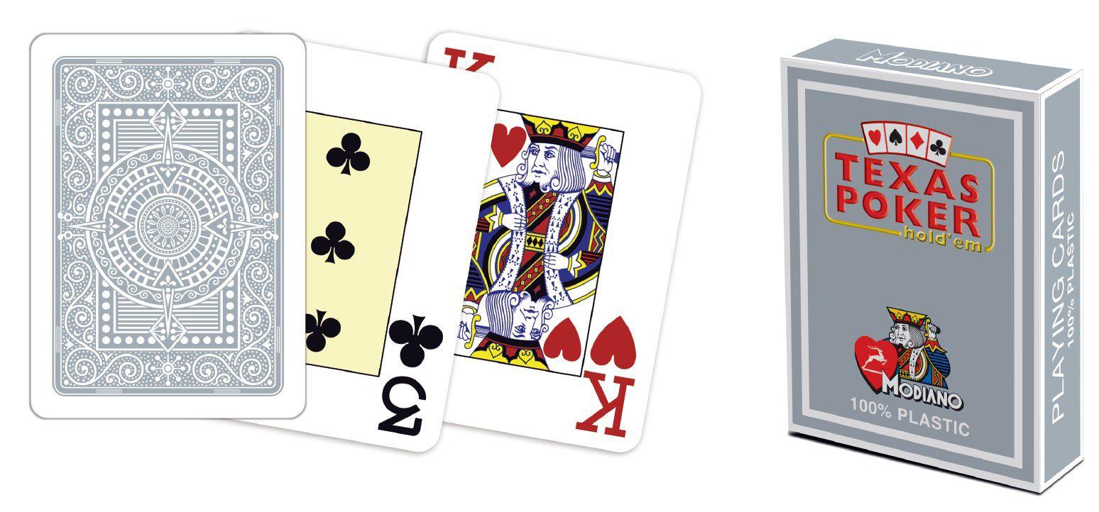 Modiano 2 rohy 100 % plastové karty - sivé