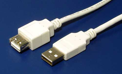 Kabel Value USB 2.0 A-A 3m prodlužovací, bílý/šedý