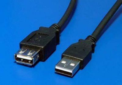 Kabel USB 2.0 A-A 30cm prodlužovací, černý