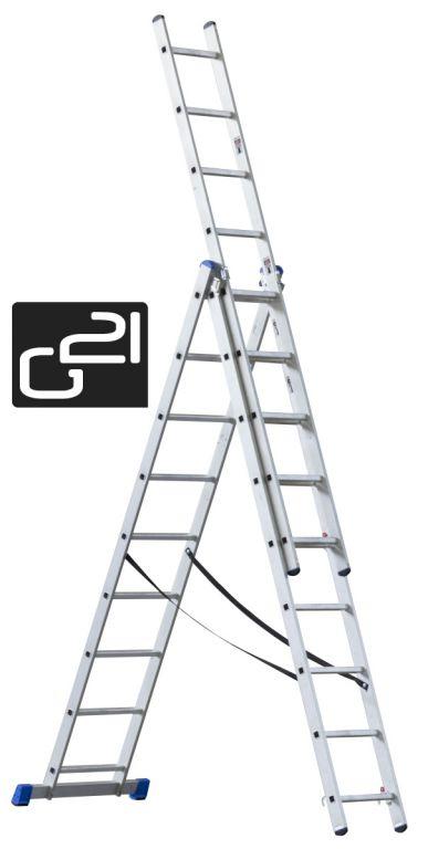 Rebrík G21 3-dielny 5,9 m 3 x 9 priečok
