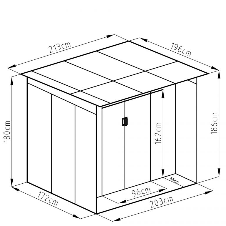 Zahradní domek G21 GBAH 418 - 203 x 172 cm, šedý