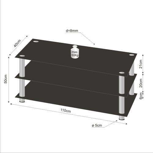 Televízny sklenený stolík NOBLE čierny