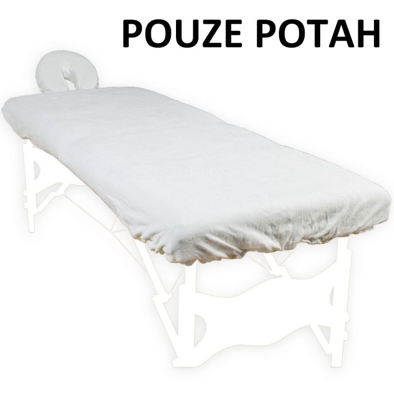Poťah na masážne ležadlo a opierku hlavy biely 100 % bavlna
