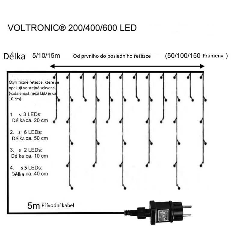 Vianočný svetelný dážď 400 LED studená biela - 10 m