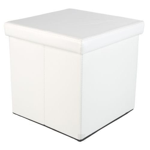 Taburet s úložným priestorom, biely