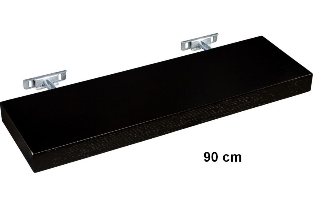 Nástěnná police STILISTA SALIENTO - hnědočerná 90 cm