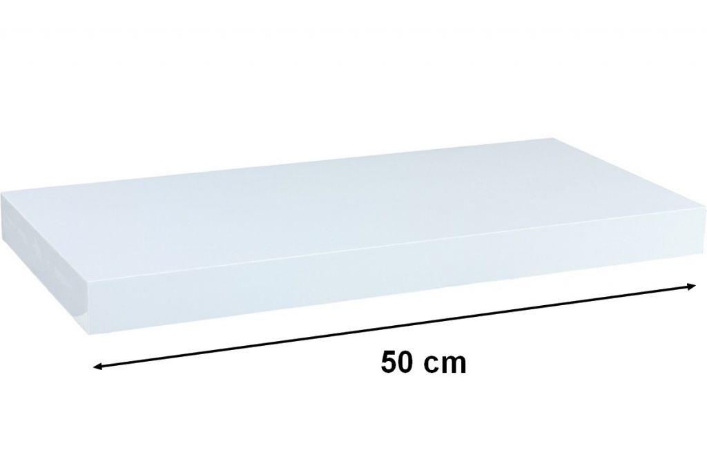 Nástenná polica STILISTA VOLATO - lesklá biela 50 cm