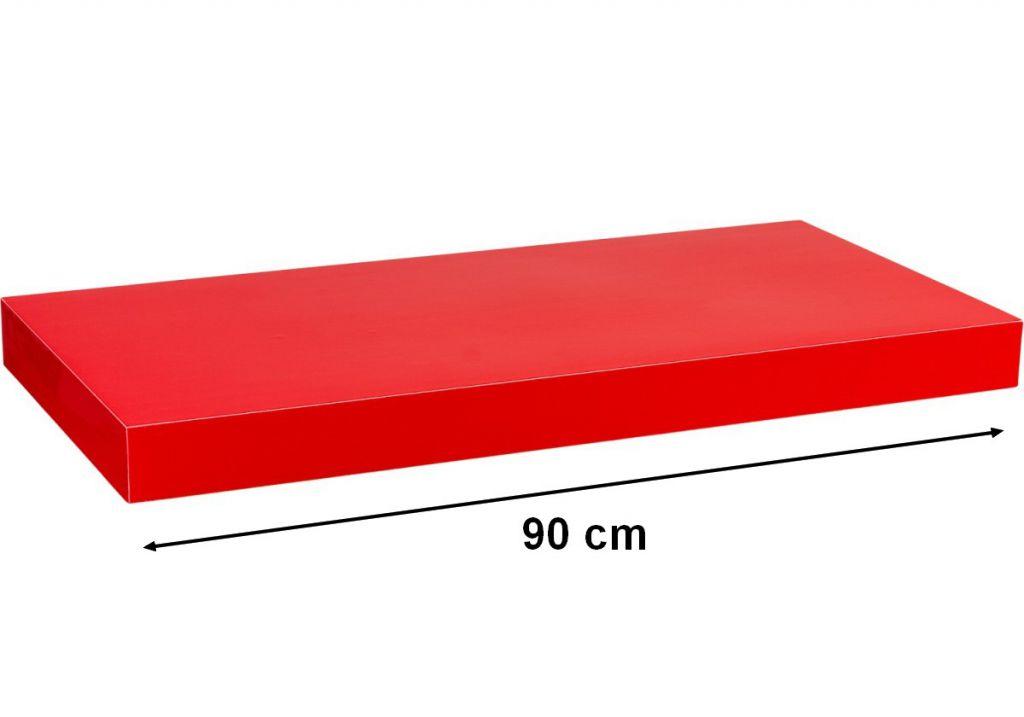 Nástěnná police STILISTA VOLATO - lesklá červená 90 cm