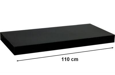 Nástěnná police STILISTA VOLATO - lesklá černá 110 cm