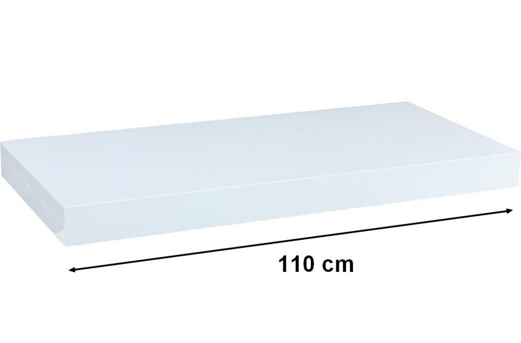 Nástenná polica STILISTA VOLATO - lesklá biela 110 cm