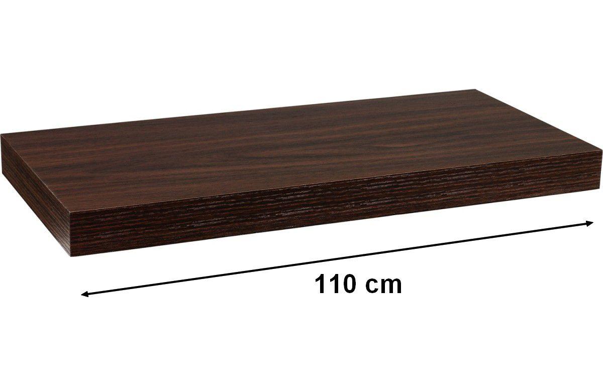 Nástenná polica STILISTA VOLATO - tmavé drevo 110 cm