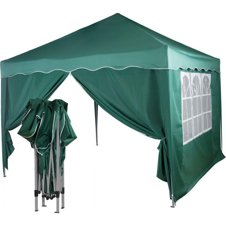 Záhradný párty stan nožnicový 3x3 m + 2 bočné steny - zelená