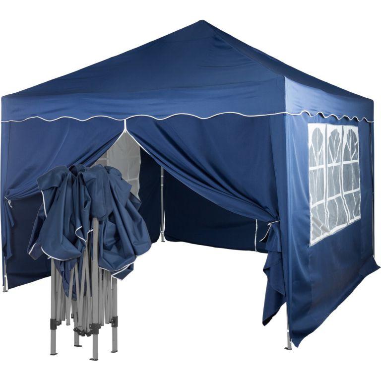 Záhradný párty stan nožnicový 3x3 m + 4 bočné steny - modrá
