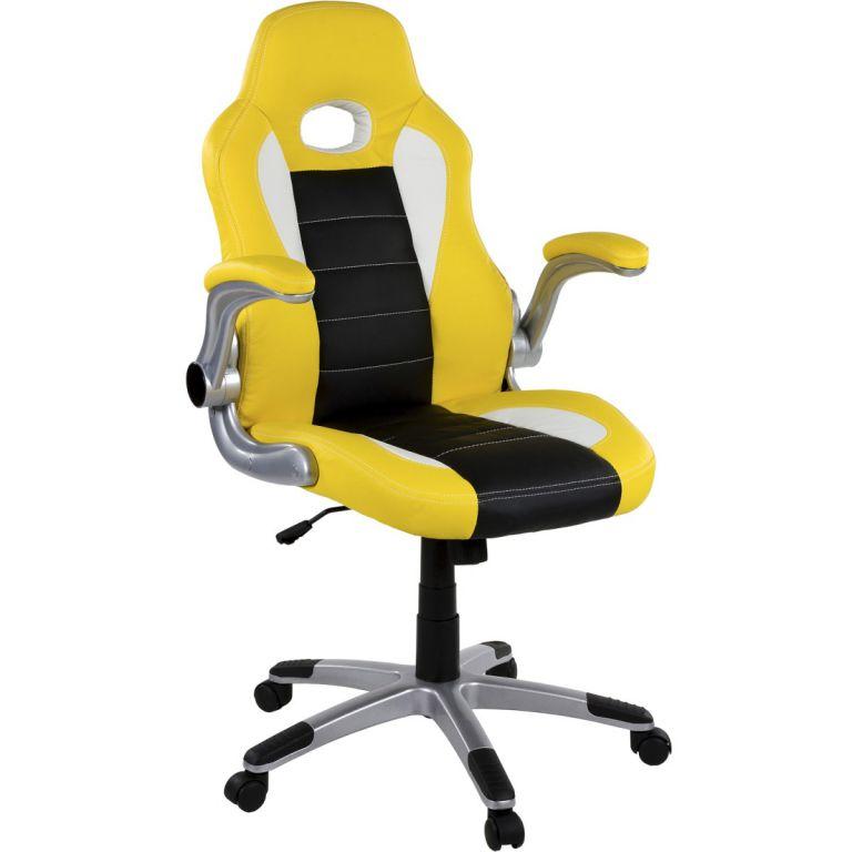 Kancelárska stolička GT Stripes Series žltá/čierna/biela