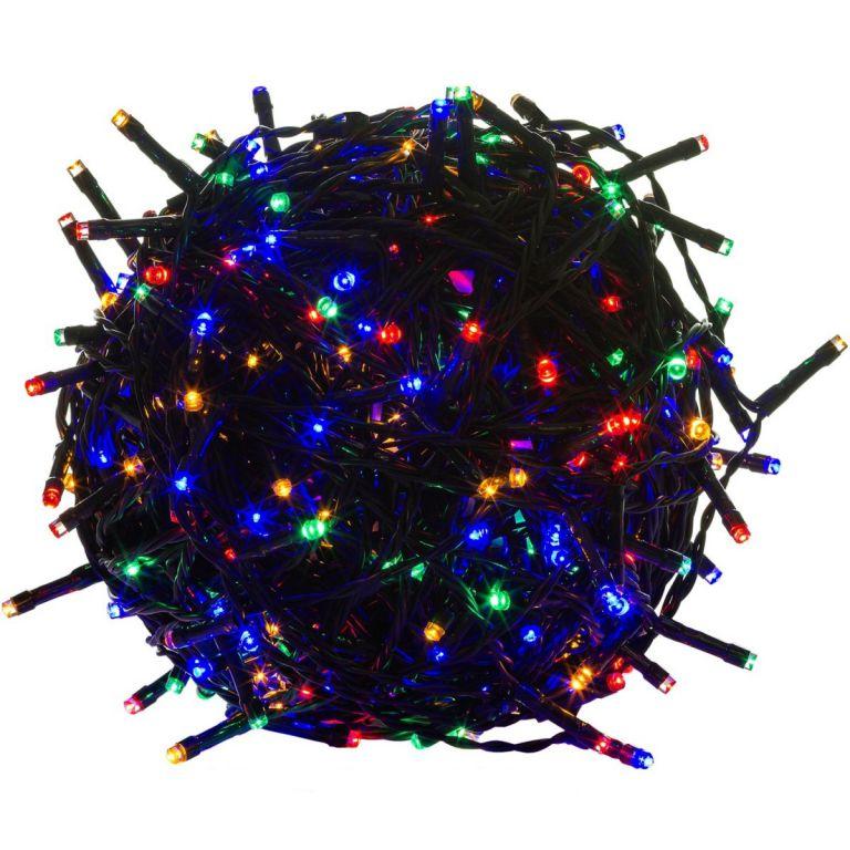 Vianočné LED osvetlenie 60 m - farebné 600 LED - zelený kábel
