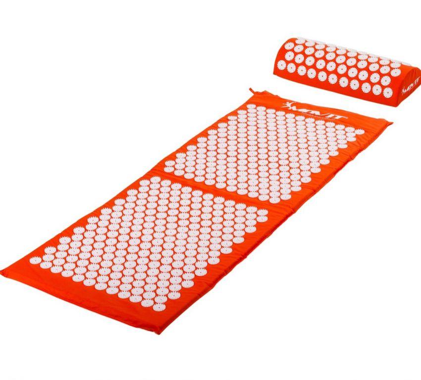 Akupresúrna podložka s vankúšom 130 x 50 cm - oranžová