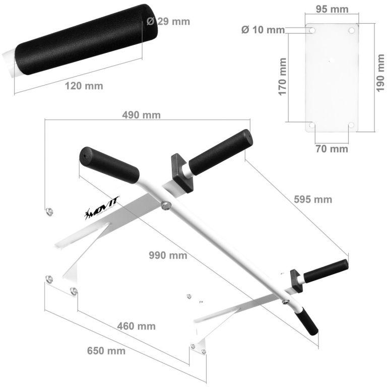 Domáca posilňovacia hrazda na stenu MOVIT – čierna