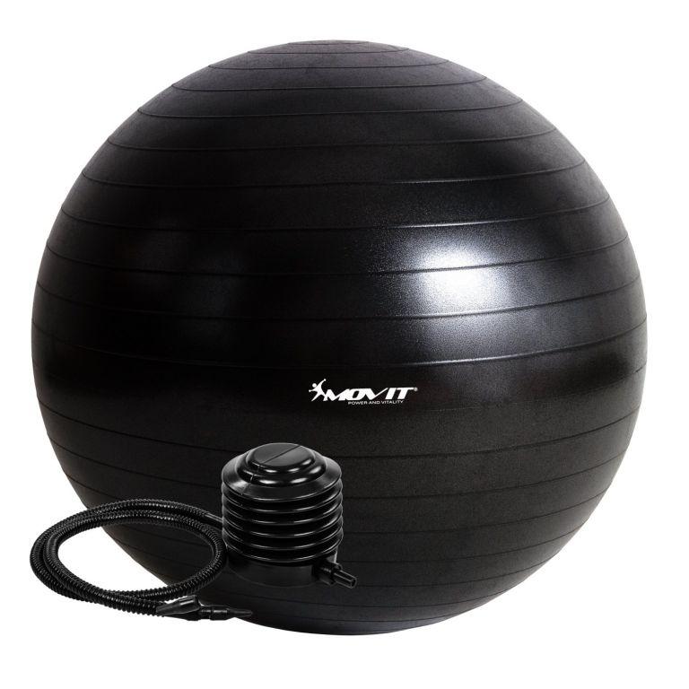 Gymnastická lopta MOVIT s pumpou – 65 cm – čierna