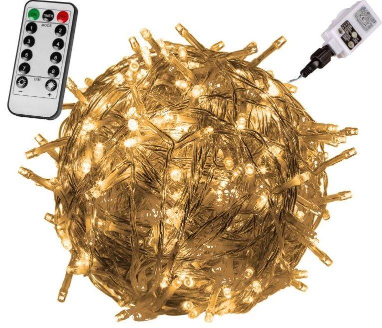 Vianočné LED osvetlenie 20 m - teplá biela 200 LED + ovládač