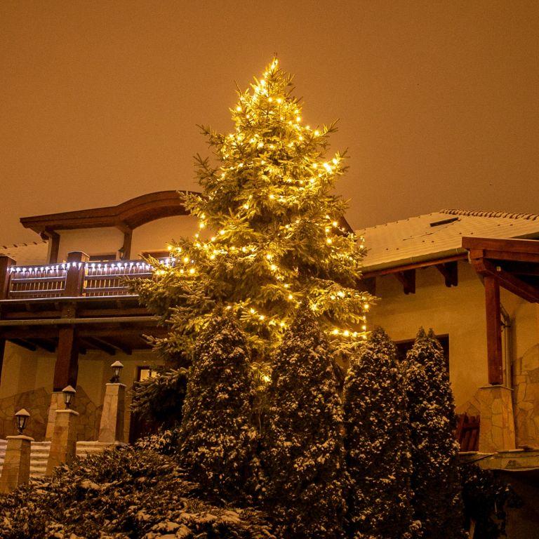 Vianočné LED osvetlenie 10 m - teplá biela 100 LED + ovládač
