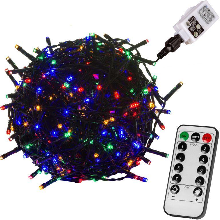 Vianočné LED osvetlenie 10 m - farebná 100 LED + ovládač - zelený kábel