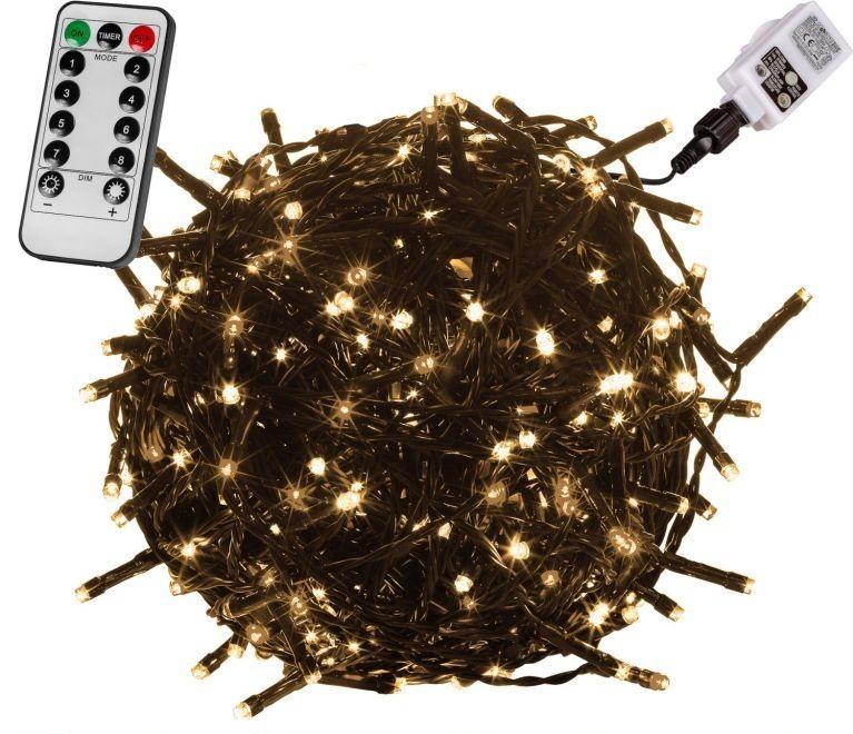 Vianočné LED osvetlenie 60 m - teplá biela 600 LED + ovládač - zelený kábel